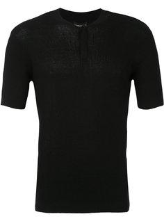 футболка в рубчик с укороченной застежкой Emporio Armani