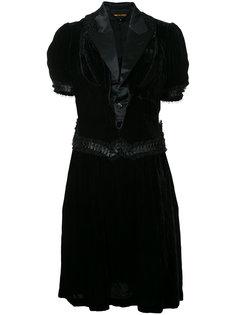 бархатное платье с атласными лацканами Comme Des Garçons Vintage