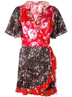 платье-кимоно с комбинированным принтом Attico