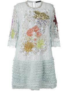 декорированное платье с рюшами Amen Amen.