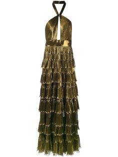 вечернее платье с многоярусной юбкой Elie Saab