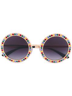 солнцезащитные очки в круглой оправе с отделкой Dolce & Gabbana