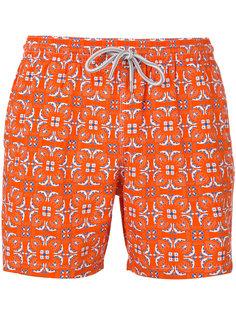 geometric leaf print shorts Capricode