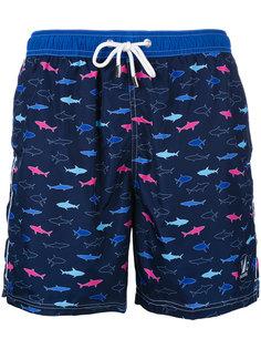 шорты для плавания с принтом рыб Paul & Shark