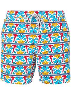 geometric floral print swim shorts Capricode