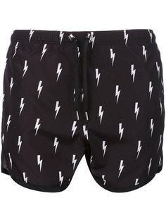 шорты для плавания с принтом молний Neil Barrett