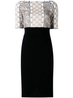 lace appliqué fitted dress Talbot Runhof