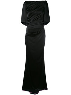 draped fitted evening gown Talbot Runhof