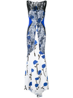 embroidered flared maxi dress Talbot Runhof