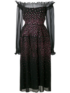 metallic dot bardot dress Talbot Runhof