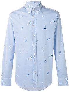 полосатая рубашка с принтом рыб Etro