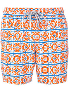 tile print swim shorts  Capricode