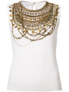 sleeveless gold chain layer tank top Oscar de la Renta