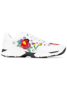 кроссовки с вышитыми цветами Philipp Plein