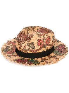 плетеная шляпа с цветочным принтом Etro