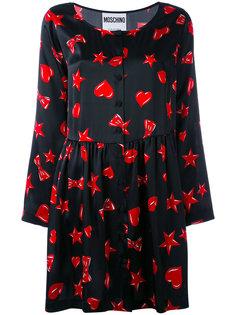платье с принтом сердец и звезд Moschino