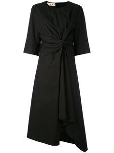асимметричное платье миди с узлом спереди Marni