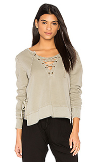 Side slit lace up sweatshirt - Pam & Gela
