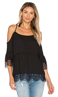 Cold shoulder top with lace trim - 1. STATE