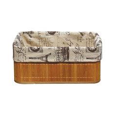 Бамбуковая корзинка с покрытием из натурального льна BLB-09-1, Рыжий кот