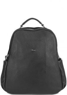 Черный кожаный рюкзак с узкими лямками Bruno Rossi