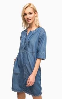 Джинсовое платье синего цвета с карманами и разрезом спереди Pennyblack