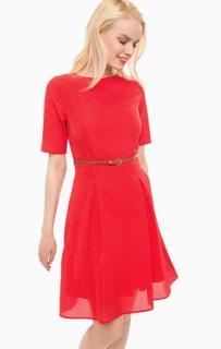 Красное платье в горошек с ремнем Sugarhill Boutique