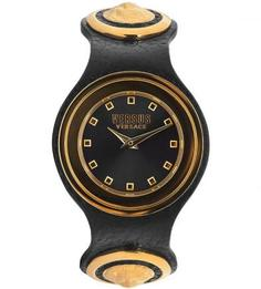 Часы с черным кожаным браслетом Versus