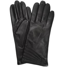 Черные кожаные перчатки с шерстяной подкладкой Eleganzza