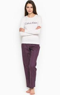 Комплект из футболки и брюк белого и фиолетового цветов Calvin Klein