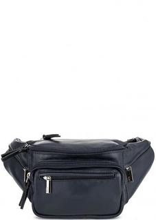 Однотонная кожаная сумка с одним отделом Bruno Rossi