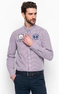 Сиреневая рубашка в клетку La Martina