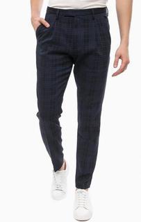 Темно-синие хлопковые брюки в клетку Cinque