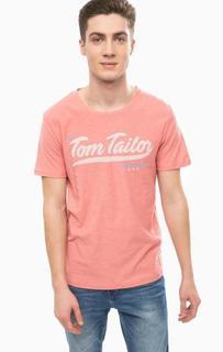 Розовая хлопковая футболка с принтом Tom Tailor Denim