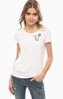 Белая хлопковая футболка с круглым вырезом Tom Tailor