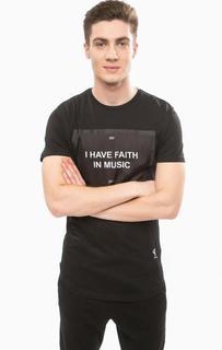 Черная хлопковая футболка с принтом Religion