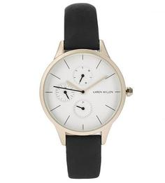 Часы с черным ремешком из натуральной кожи Karen Millen