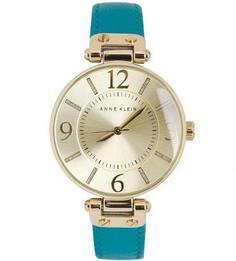 Часы с кожаным браслетом бирюзового цвета Anne Klein