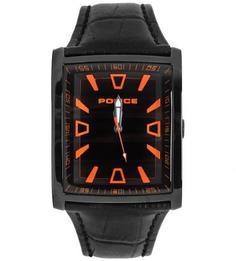 Часы с черным кожаным ремешком Police