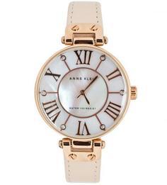 Часы с тонким кожаным браслетом Anne Klein