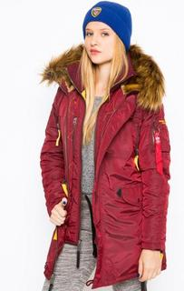 Удлиненная бордовая куртка с капюшоном Alpha Industries