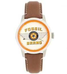Часы с кожаным ремешком с контрастной строчкой Fossil