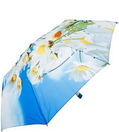 Голубой складной зонт с цветочным принтом Zest