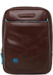 Коричневая сумка из натуральной кожи на молнии Piquadro