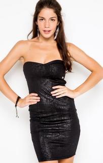 Короткое черное платье-бюстье Fornarina
