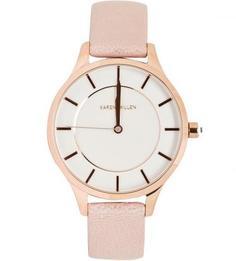 Часы с розовым кожаным ремешком Karen Millen