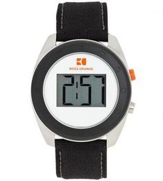 Часы круглой формы с кожаным браслетом Boss Orange