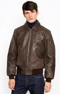 Коричневая кожаная куртка Alpha Industries