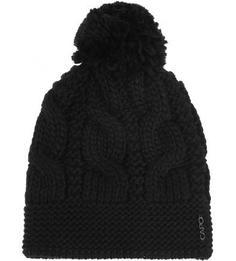 Черная вязаная шапка с помпоном Capo