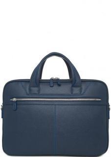 Синяя кожаная сумка на молнии с двумя ручками Sergio Belotti